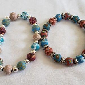 Lot 2 Vera Bradley Viva Beads Stretch Bracelets